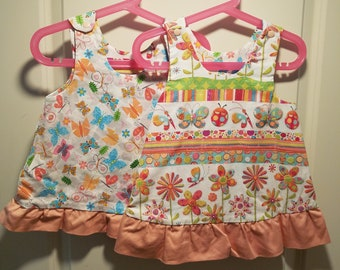 Reversible Dress, jumper, sundress, pinafore Butterfly and  Garden with peach ruffle