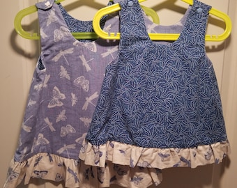 Reversible Dress, jumper, sundress, pinafore Toddler and Kids Butterfly, dragonfly and bees and blue dashes with ruffle