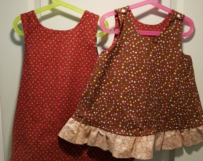 Reversible Dress, jumper, sundress, pinafore 3T burgundy calico and brown polka dot with pale peach ruffle