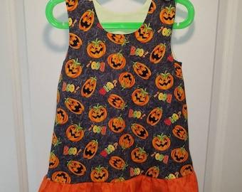 Pumpkin Halloween Jumper, A-line dress, pinafore with bright orange ruffle
