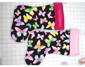 Christmas Stockings Glitter Butterfly in size 15""