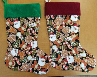 "Christmas cookies with burgundy or green velveteen cuff in Two sizes 15"" and 8"""