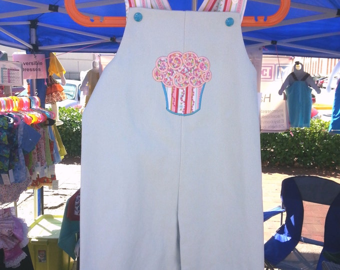 Clearance light blue denim long overalls 1T with Cupcake applique