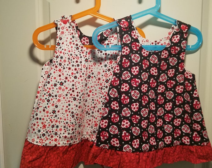 Reversible Dress, jumper, sundress, pinafore  Red white and black ladybugs