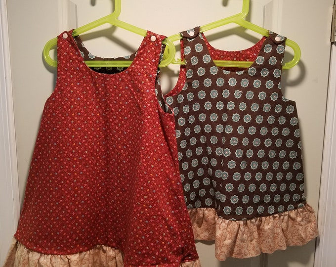 Reversible Dress Toddler and Girls Burgundy and Brown medalions with tan ruffle