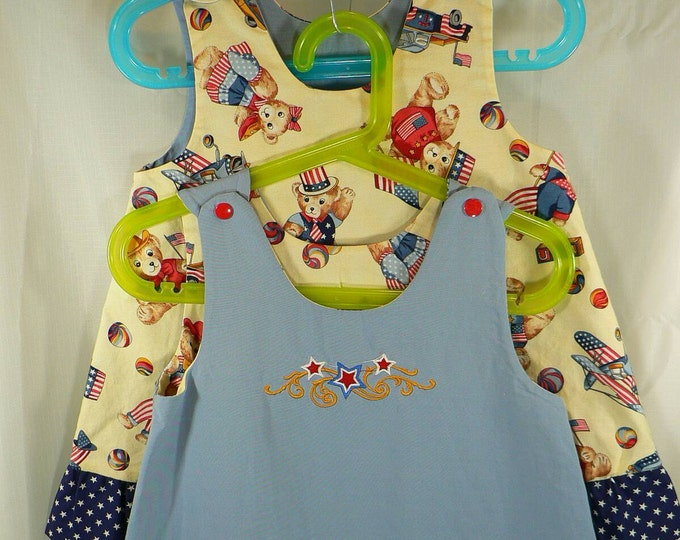 Reversible Dress infant and toddler patriotic with embroidered star cluster