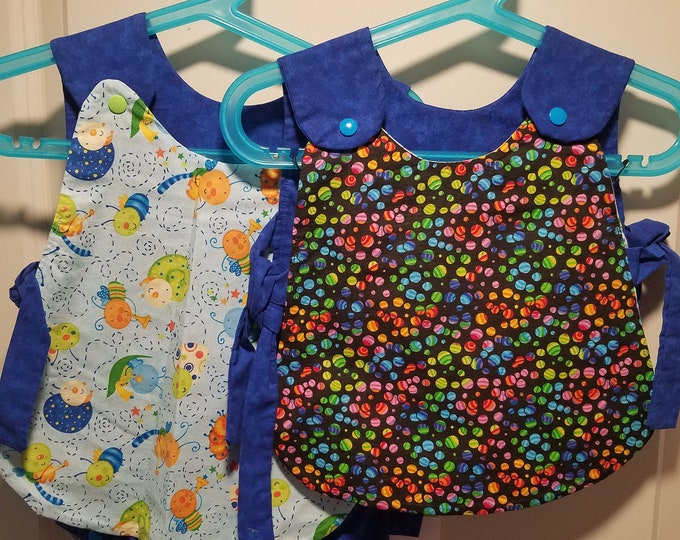 Clearance last ones with bloomers 3-6, 6-9, 9-12 months Reversible top in blue cute bugs playing instruments and rainbow polka dots
