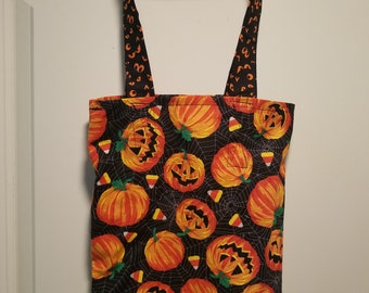 "Jack-o-Lantern reusable washable Trick or Treat tote Bag 10"" x 13"""