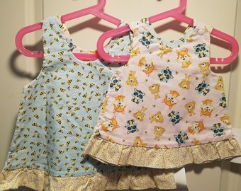 Reversible jumper dress forest animals and bees with polka dot ruffle with or without matching hat