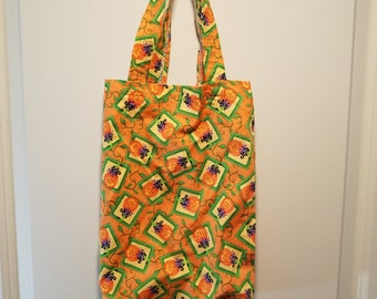 """BOO! or Black cat in a Jack-o-lantern washable reusable Trick or Treat tote Bag 10"""" x 13"""""""