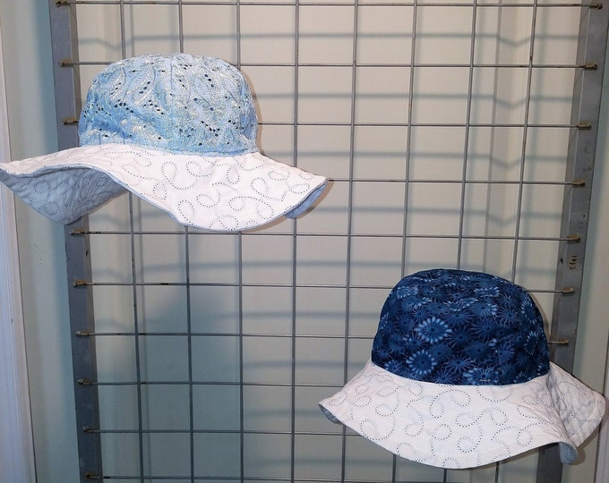 Reversible Sun Hat for baby and kids Eyelet in blue or pink with wide brim