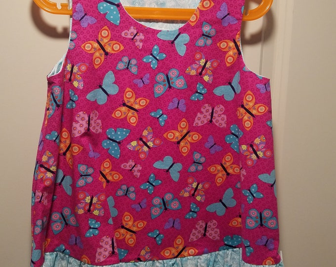 Jumper, sundress, pinafore, dress hot pink colorful butterfly with aqua swirl ruffle