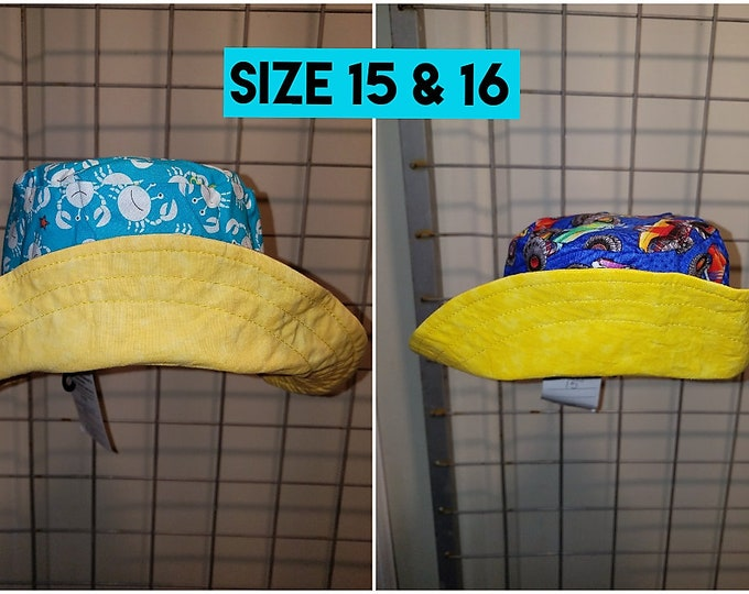 Reversible Infants size 15 and 16 inch bucket hats assorted prints