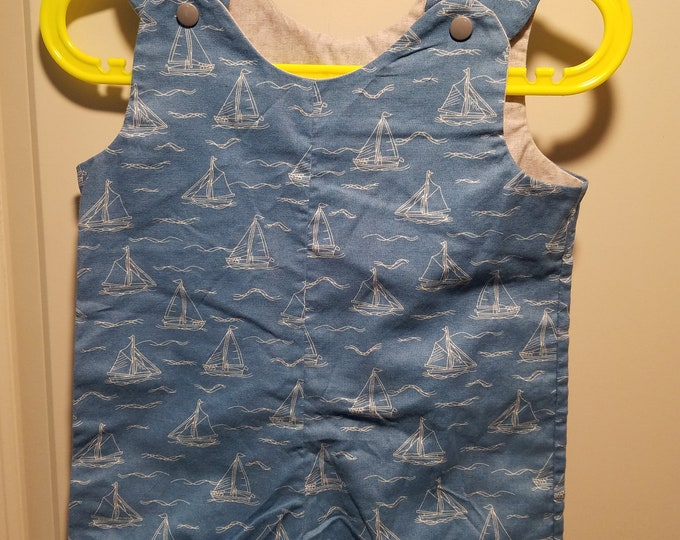 Short Overalls blue with white etched sailboats size 9-12 Months