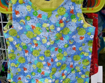 Short Overalls for infant and toddler underwater nautical print in blue, green or pink newborn, 3m, 6m, 9m, 12m 1T 2T
