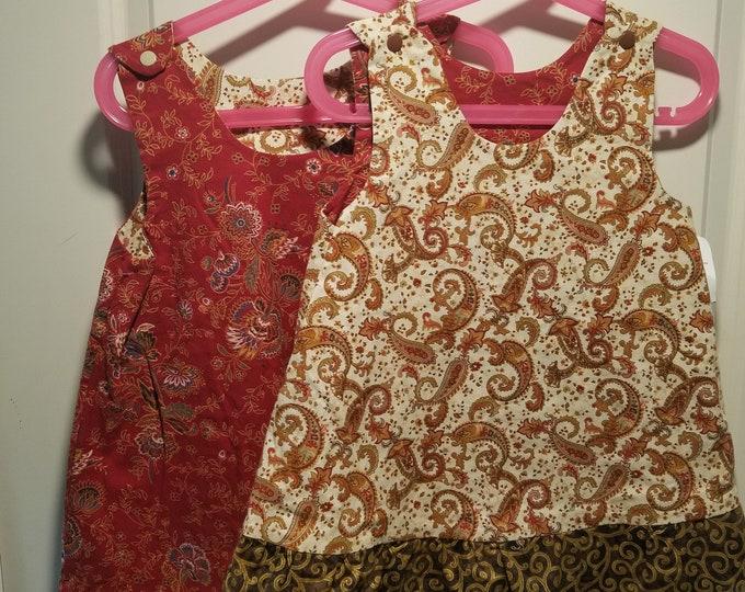 Reversible Dress, jumper, sundress, pinafore burgundy paisleys with dark gold ruffle
