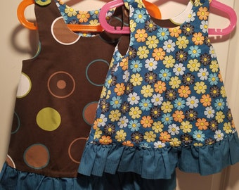 Reversible Sundress, Jumpers, pinafore, dress brown twill with circles and daisy with teal ruffle