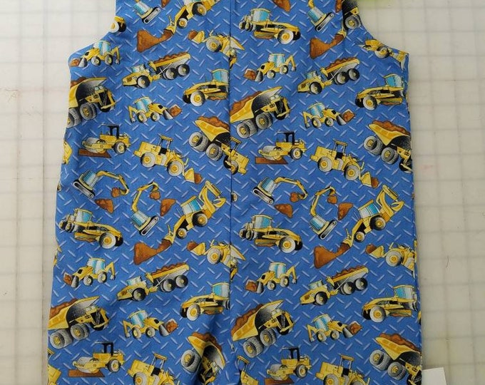 Short Overalls Size 1T - 18 Months or 2T - 24 months Construction Trucks One of a kind