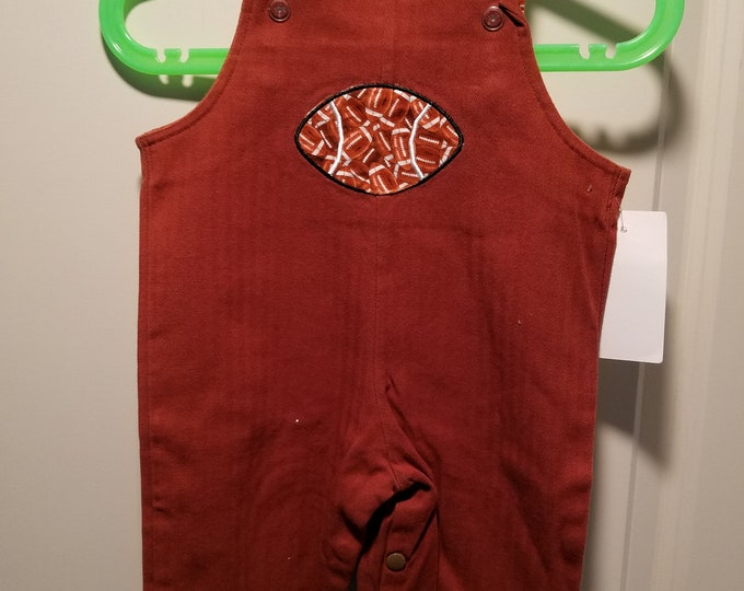 Long Overalls 3-6, 9-12 months, 1T and 2T Rusty Brown herringbone twill with football applique