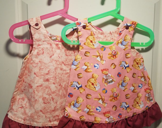 Reversible Jumper dress bears with toys and pink marble with dark mauve ruffle