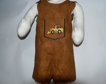 Short Overalls 18 Months or 1T backhoe embroidery