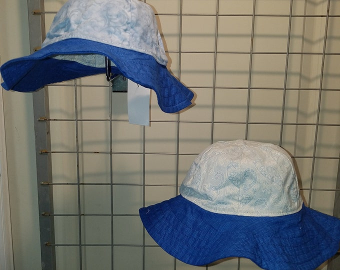 Reversbile Sun Hat light blue swirls and light blue paisley with a blue brim