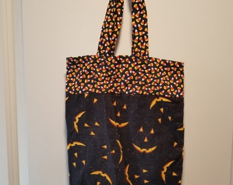 "Jack-o-Lantern faces reusable washable Trick or Treat tote Bag 10"" x 13"""
