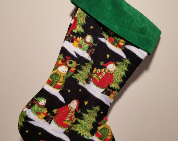 Christmas Stockings Flannel Snowmen size 15""