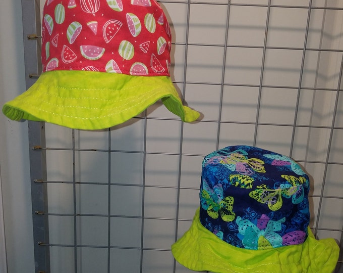 Reversbile Sun Hat Watermelon print and Butterfly print with bright green brim