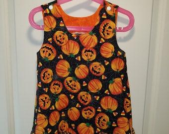 Jack-o-Lantern and pumpkin Halloween A-line dress with candy corn ruffle