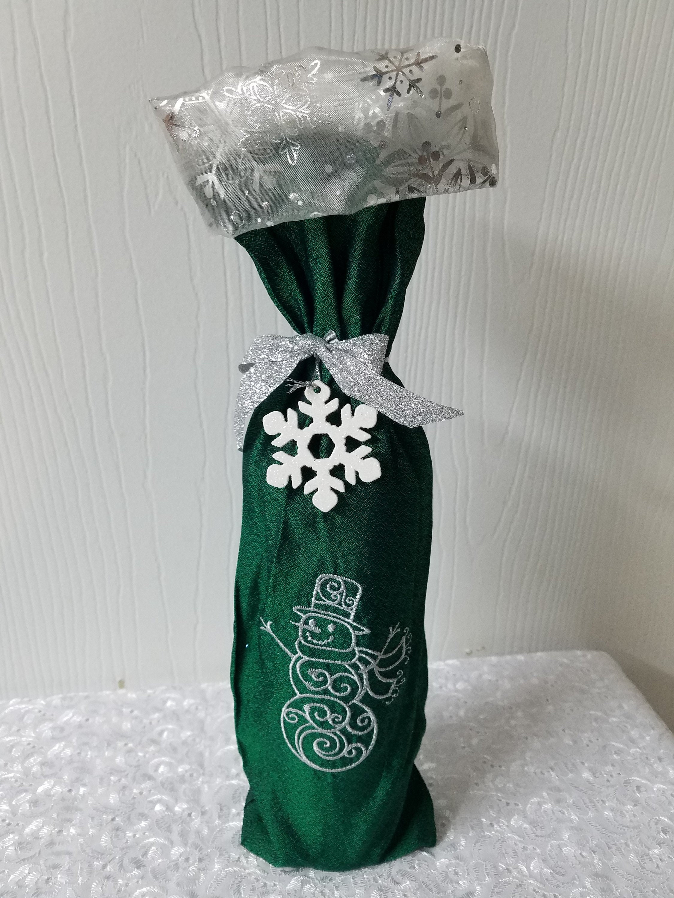 Ready to ship Christmas wine bottle bag Green Metallic fabric with ...