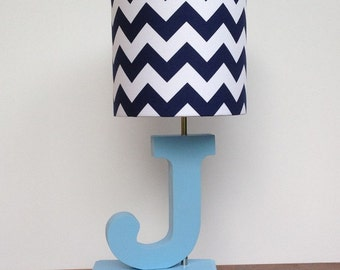 Medium Navy Blue/White Chevron Drum Lamp Shade - Nursery or Boy's Lamp Shade