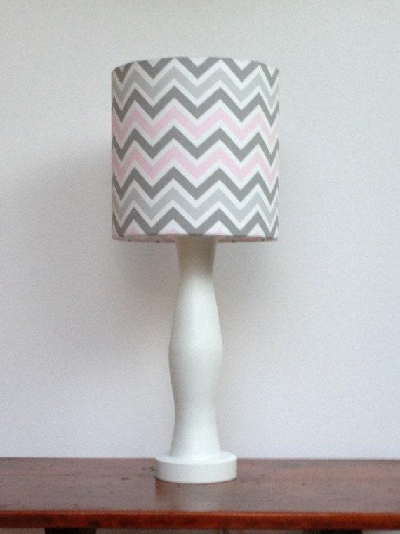 Medium Pink Grey White Chevron Drum, Pink Grey And White Lamp Shade