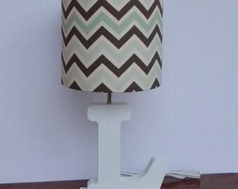 Small Mint/Brown/Natural Chevron Drum Lamp Shade - Nursery Lamp Shade