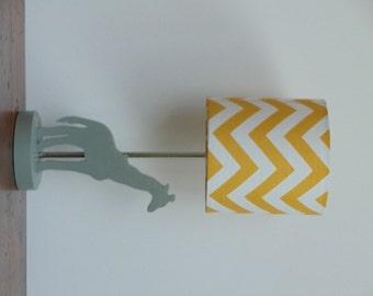 Small Yellow/White Chevron Drum Lamp Shade - Nursery or Kid's Lamp Shade
