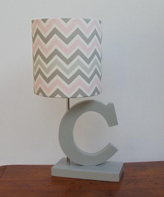 Small Pink Grey White Chevron Drum Lamp, Pink Grey And White Lamp Shade