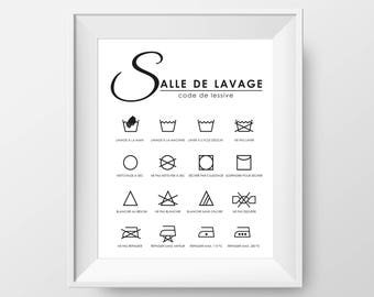 8X10 Digital poster - Laundry Room Laundry Code - Laundry Pictogram and Meaning - Instantly Download to Print