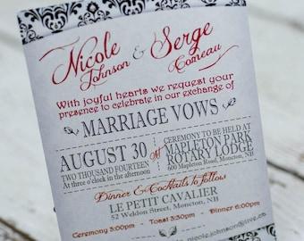 Damask wedding invitations    demask invites handmade in Canada by empireinvites.ca
