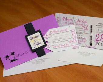 Boarding Pass Invitation - Custom Destination Wedding Invite   Handmade in Canada by ---- www.empireinvites.ca ----