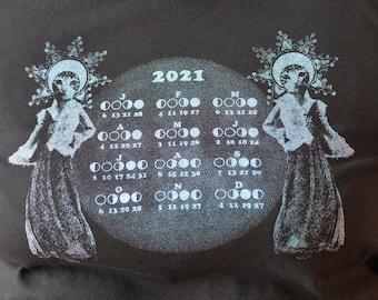 Mondkalender 2021 T-Shirt schwarz Siebdruck Weltraumkatzen Glitzerfarben Slow Fashion No Waste S M L XL