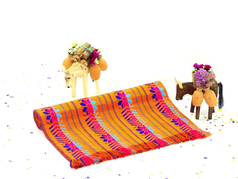 Mexican decoration Table cloth First fiesta birthday Wedding fiesta table Mexican table runner Tribal Orange mexican,4 sizes available
