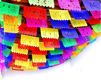 Papel Picado, Mexico Fiesta Decoration 5 Pack Banners, Paper Mexican Banner 12 ft long each, Fiesta Banner WS100