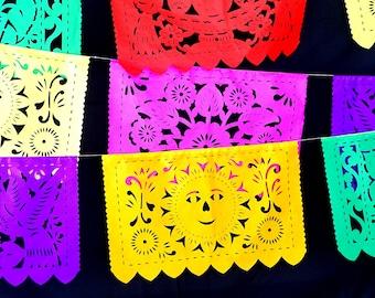 5 Mayo Large Paper Mexican Banner 16 Feet Long, Aztec home decor, Paper picado Garland, Fiesta Decoration, FIESTA, Wedding Decor, B272