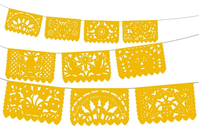 5 PK over 60 ft long Beautiful Dreamy White Mexico decor Mexican weddings White papel picado Cinco de mayo Fiesta decoration WS700