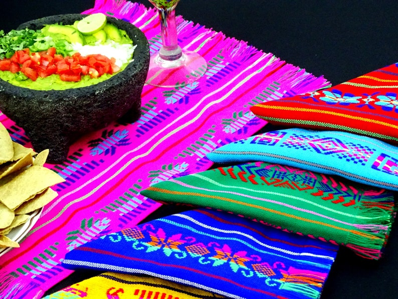 Fiesta decoration Mexican Napkins NAP001 Fiesta Decor Bulk Set of Assorted Colors woven napkins bohemian napkins Cinco de mayo