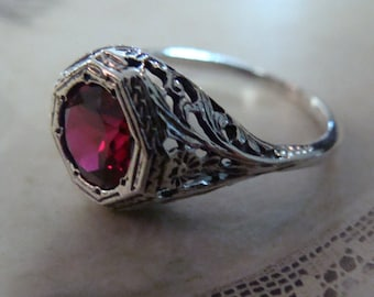 Sweet Sterling Filigree Ruby Ring Size 6.5