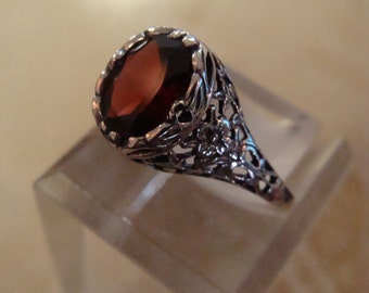 Charming Sterling Filigree Garnet Ring  Size 6 1/2 Victorian design