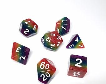Rainbow Dice - Pride dice - D&D Dice set - Rainbow Dice set- Dungeons and Dragons dice - LGBTQ pride dice set - layered dice set