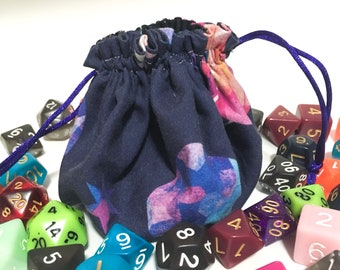 Dice bag - Galaxy dice bag - Dungeons and Dragons dice bag - Polyhedral dice bag - Dice Pouch - Pathfinder dice bag