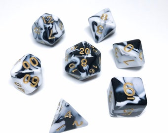 Marble Dice set - D&D dice set - black and white dice - faux stone dice - Dungeons and Dragons dice set - Polyhedral dice set - Pathfinder